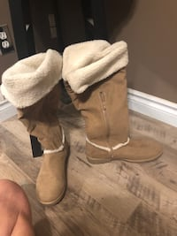 pair of brown suede boots , T0G 0L6