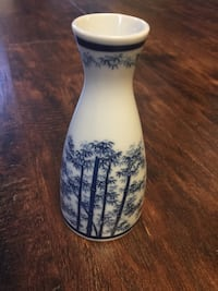 White and blue bamboo printed vase antique