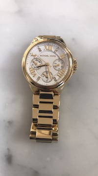Round gold michael kors chronograph watch with gold link bracelet Marshall, 20115
