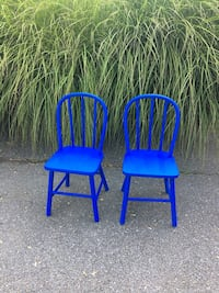 two blue wooden children's windsor chairs Bethesda, 20817