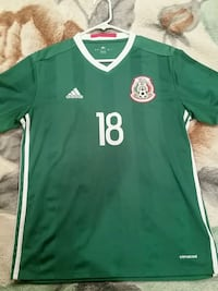 green and white Adidas 18 v-neck jersey shirt Prunedale, 93907