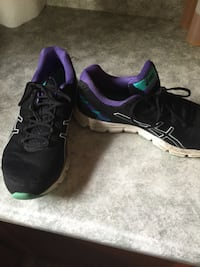 black-and-purple ASICS running shoes