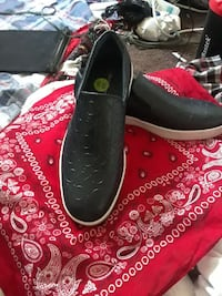 pair of black loafers