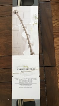 brown Threshold permanent curved shower rod box