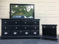 Lea Furniture Solid Wood 7 Drawer Long Dresser With Mirror and Nightstand Black With Silver Handles  Manassas, 20112