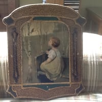 1920s girl and robin picture...wooden/hand painted...really nice