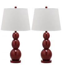 Brown wooden base table lamp with white lampshade Detroit, 48227