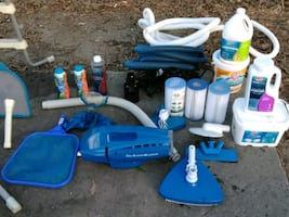 blue and white plastic toy lot