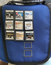 DS GAMES/CASE  VARIETY OF GAMES  BLUE CASE