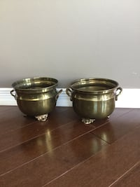 6.5 in wide x 5 in high/ pair of brass pots
