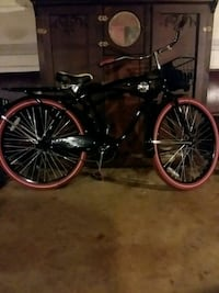 black and red cruiser bike