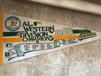 1988 Oakland A's Champions Pennant Roseville, 95747