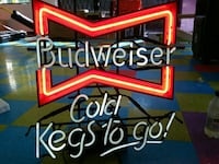 red and white Budweiser neon light signage