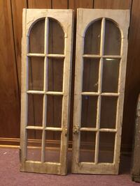 Antique Architectural Salvage Double Arched 6 Paned Divided Wooden Windows Annapolis