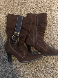 pair of brown leather boots Peoria