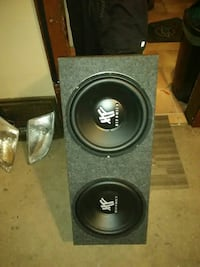 grey and black Hifonics loaded subwoofer enclosure