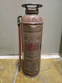 Vintage Antique Brass and Copper Fire Extinguishers