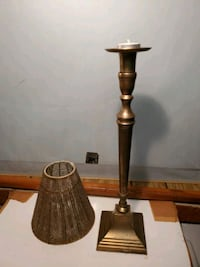 Brass French Candlestick/Tealight Lamp with Shade Waldorf, 20602