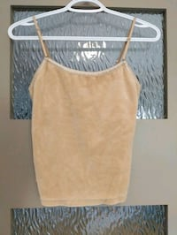 Beige velour tank top size small