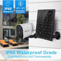 Solar Powered Security Camera+Solar Panel, Compatible with