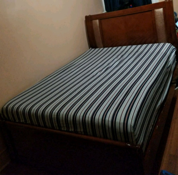 Used Brown Wooden Bed Frame For In Brooklyn