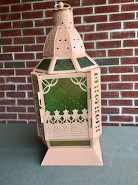 "Bohemian chic lantern. Intricate metal cut work with vintage embossed (Lucy Green) glass Perfect for your foyer, gazebo or sunroom  Medium sized at H16""x W7"""