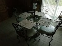 black metal framed glass-top table Lowell, 46356