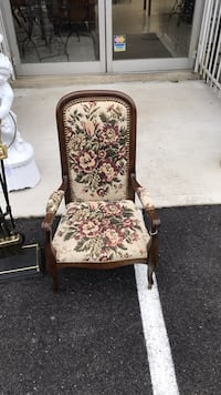 brown wooden frame white floral padded armchair Fort Washington, 20744