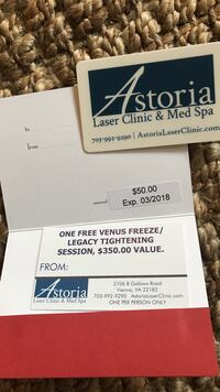 $50 gift card and $350 venus free session for $35 total  Arlington, 22202