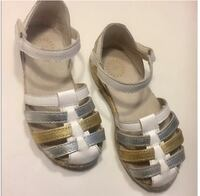 pair of gray leather open toe ankle strap sandals Los Angeles, 91042