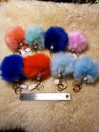 Faux Fur Fluffy Pom Pom Keychains with Accent Ball Woodbridge, 22193