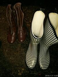 white-and-black houndstooth rain boots