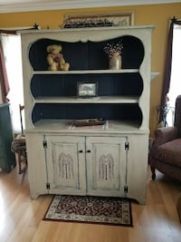 Hand-painted solid pine stepback hutch