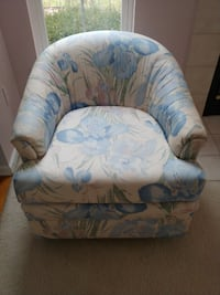 white and blue floral sofa chair Fenton