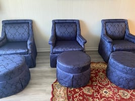 3 Blue Arm Chairs with matching Ottomans