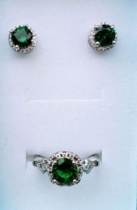 Emerald and lab diamond sterling silver set Baltimore, 21224
