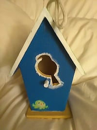 blue and white wooden bird house Riverview, 48193