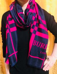 Gorgeous Burberry scarf in pink and navy blue shade  Edmonton