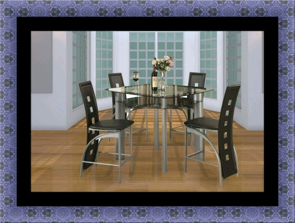 Counter height glass dining table with 4 chairs