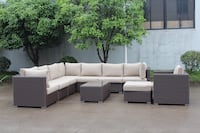 New patio wicker sunbrella fabric sectional sofa with throw pillows