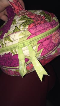 pink and green floral Vera Bradley make-up bag