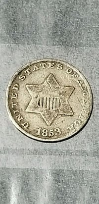 rear 3 cent penny 1853 Tulare, 93274