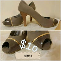 pair of brown leather peep-toe heeled sandals collage Vaughan, L4H 2L3