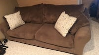 brown microfiber couch with throw pillows  Gaithersburg, 20878