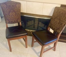 Brown Leather Cushioned Dining Room Chairs (Set of 2)