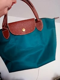 women's blue and brown leather tote bag Markham, L3S 4K1