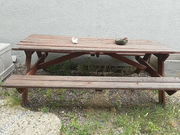 Used Rectangular Brown Farm Style Picnic Table For In Temecula