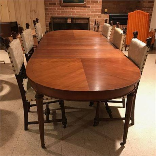 Vintage Walter Of Wabash Herringbone Dining Table W 3 Leafs Chairs Not Included 66 79 91 Or Max 102