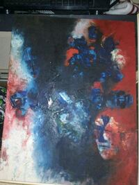 blue, red, and white abstract painting Edmonton, T5G