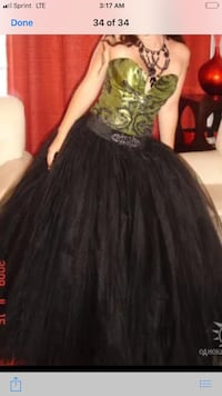 Black and Green  gothic dress.  San Diego, 92127